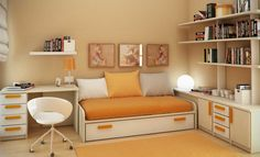 contemporary-teenage-bedroom-with-storage-bed-and-round-white-study-chair-with-orange-mattress-and-fancy-floating-bookshelves-attractive-teenage-small-young-room-wall-shelves-2016.jpg (880×536)