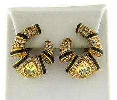 18K Gold Sapphire Diamond Onyx Earrings Featured in our upcoming auction on July 26!