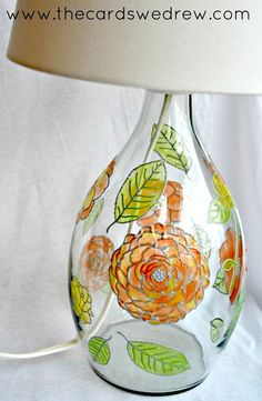 STAINED GLASS PAINTING LAMP.... Paintable clings from Martha Stewart are an easy way to revamp any project  Simply paint and stick them on glass DIY Glass paint lamp