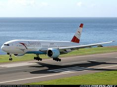 Austrian Airlines Boeing 777-2Z9/ER. About to land rwy 05 in the second visit to Madeira.