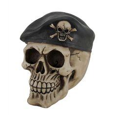 Skull and Crossbone Beret Death Skull Statue