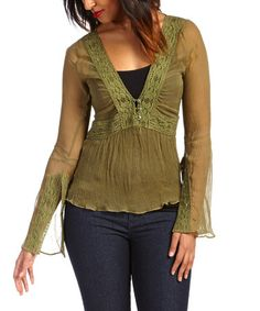 This Aloe Sheer Crochet V-Neck Top - Women & Plus by Nataya is perfect! #zulilyfinds