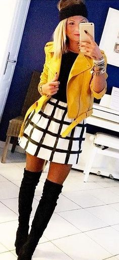#winter #fashion // Yellow Leather Jacket // Quilted Skirt // Black Top // Black Suede Over The Knee Boots