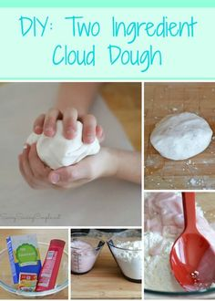 DIY: Two Ingredient Cloud Dough. So easy and uses such a strange, but effective ingredient!!! Way better than store bought types!