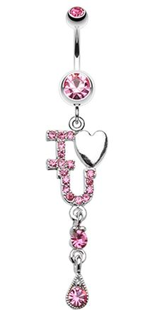 I Heart You Sparkle Belly Button Ring #BellyRing #Heart #HeartBellyRing #BodyMod #BodyModification #Piercings