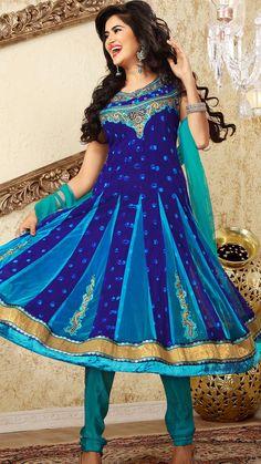 Navy Blue Faux Georgette Churidar Anarkali Suit  | @ $197.29
