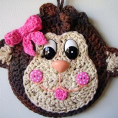 Crochet Monkey wall hanging, my own design, by Jerre Lollman
