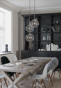 Modern Scandinavian dining room, interior with wooden details