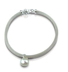Mesh bracelet with pearl charm handmade in sterling silver