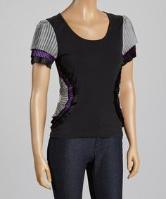 Look what I found on #zulily! Black Fan Accent Scoop Neck Top - Women by Radzoli #zulilyfinds