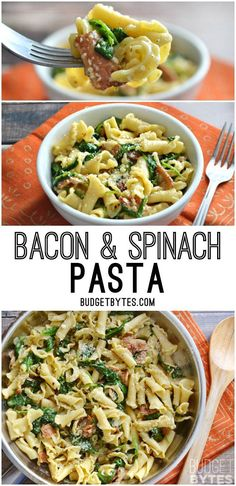 Bacon and Spinach Pasta with Parmesan is a quick weeknight dinner that only requires a few ingredients. @budgetbytes