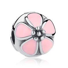 Bamoer S925 Sterling Silver Spacer Charm Magnolia Fleur Avec Rose Zircone cubique Bijoux