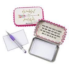 """Keep your prayers close! This Prayer Box features pom-pom trim, bright colors and the sweet sentiment, """"Thankful & Grateful"""". Open the lid for an inspirational message and write down your prayers with the included pad and tiny pencil. Grateful Prayer, Thankful, Prayer Box, Prayer Ideas, Altered Tins, Altered Books, Christmas Gift Guide, Christmas Gifts, Xmas"""