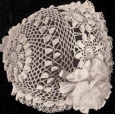 Vintage Daisy Baby Cap Hat Bonnet Crochet Pattern DaisyBB