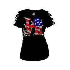 Shoe Flag July 4th Independence Rhinestone V Neck Short Sleeve Tee... ❤ liked on Polyvore featuring tops, t-shirts, rhinestone tees, v-neck tee, rhinestone t shirts, short sleeve v-neck tee and vneck t shirts
