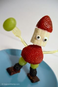 Kids in the Kitchen - Fruit Sculpture Fun - Funny Fruit Man [AD #EasyFruit] at B-Inspired Mama