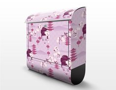 Design Letterbox with purple Geisha decor 39x46x13cm