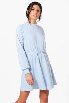 #boohoo High Neck Skater Dress - bluebell DZZ59794 #Neveah High Neck Skater Dress - bluebell