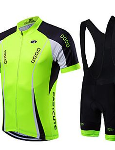 b27f99ade Fastcute Men s Short Sleeve Cycling Jersey with Bib Shorts - Light Green Bike  Clothing Suit