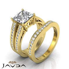 Princess Diamond Pave Engagement Bridal Set Ring GIA F SI1 14k Yellow Gold 2.25ct