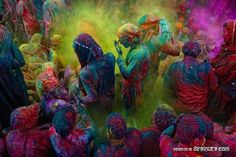 Holi Festival happens every spring in India -- this coming year (2013), it'll be March 27... http://en.wikipedia.org/wiki/Holi