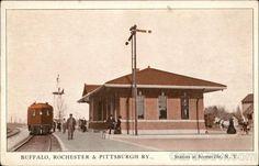 Antique postcard of train station