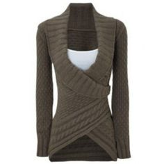 Chic Turn-Down Neck Long Sleeve Asymmetrical Women's Sweater (DARK KHAKI,M) in Sweaters & Cardigans | DressLily.com