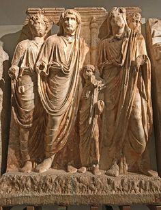 Four Roman Emperors: An ailing Hadrian (r) adopts respected senator Antoninus Pius (l), who in turn adopts Marcus Aurelius & Lucius Verus..