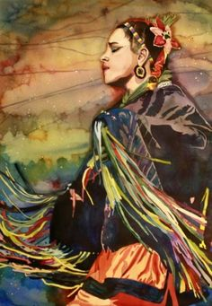 Ribbon Dancer - Native American Series by Laurie Goldstein-Warren