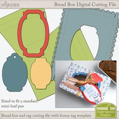 Mini Loaf Pan Gift Box Cutting File - sized to fit a mini-loaf bread pan.  Perfect for gift giving.  #digitalscrapbooking, #cutfiles, #SVGfiles