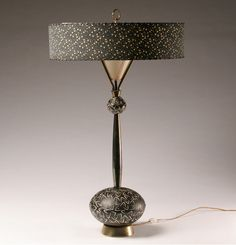"Fine Arts in Plaster vintage lamp; brass stem, laced fabric shade, bulbous base. 31 1/2""H. Good condition, some surface wear."
