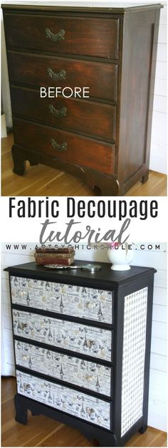 Love this! French Fabric Decoupage Tutorial - artsychicksrule.com #fabricdecoupage #decoupage #chalkpaint #frenchdecor