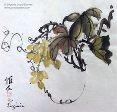 Chinese brush painting of green grapes Get tips, watch videos on grapes here: http://www.joyfulbrush.com/blog/how-to-paint-grapes-in-chinese-brush-painting-style