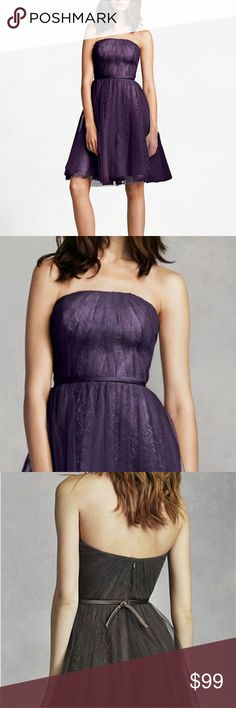 🎀NWT🎀 VERA WANG STRAPLESS TULLE MINI You will look amazing in this short and chic dress! Strapless tulle over lace dress with attached sash at waist. A-line gathered skirt adds drama and dimension.  White by Vera Wang  color: amethyst size 0 pls see size chart for measurements.        formals, homecoming, bridal, prom, engagement, guest, party, David's bridal, BHLDN, house of brides, Vera Wang, Sherri hill, Jovani, bridesmaid Anthropologie Dresses Mini
