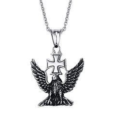 XIMAKA Men's Jewelry 316l Stainless Steel Eagle Wings Cross Domineering Pendant Necklace Retro Style