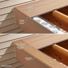 Hide Ugly Deck Board Ends – 16 Modern Deck Building Tips and Shortcuts: www.fami… Hide Ugly Deck Board Ends – 16 Modern Deck Building Tips. Deck Footings, Deck Maintenance, Deck Building Plans, Deck Skirting, Fascia Board, Laying Decking, Modern Deck, Deck Construction, Diy Deck