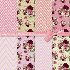Chevron and Roses - Digital Collage Sheet - Digital Paper - Printable Paper - Scrapbook - Decoupage - Printable Paper - Shabby Chic - DIY