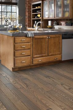 Shaw townsend - hearth hardwood flooring brings Beauty and Strength to Any Room. See our Collection of Wood Flooring Stains and Grains. Hickory Kitchen Cabinets, Honey Oak Cabinets, Light Wood Cabinets, Brown Cabinets, Kitchen Cabinet Colors, Farmhouse Style Kitchen, Kitchen Redo, Home Decor Kitchen, Home Kitchens