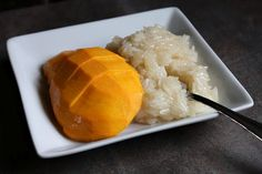 Thai Coconut Sticky Rice and Mango ข้าวเหนียวมะม่วง | Thai Food by SheSimmers. Love that dish!