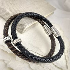 Mens Leather Bracelet with Personalised Silver Rings  Thoughtful gift for him