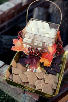 What a deliciously sweet idea! A s'more display would be perfect for a fall wedding cocktail hour or dessert option. {Heather Brulez Photography}