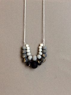 Gray Black and Gold Foil Ombre Double Strand by LuluThePickleQueen