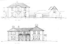 Woodview Farm - Alex Oliver Associates. A new country house on the site of a disused poultry farm and associated dwelling.  The new house was designed to appear as though it had evolved over time. The rear section of the house is designed and detailed as a vernacular farmhouse constructed from brick and flint with a slate roof with a linear form and comparatively narrow depth.
