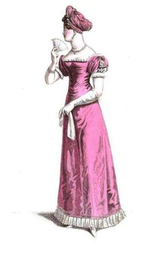 La Belle Assemblee, Parisian Evening Costume, October 1820. I could not love this dress more.  A bold color, lovely fringe at the bottom, magnificent sleeves, and a turban I would punch my grandmother to get my hands on.  This is one of my favorite outfits I've posted.