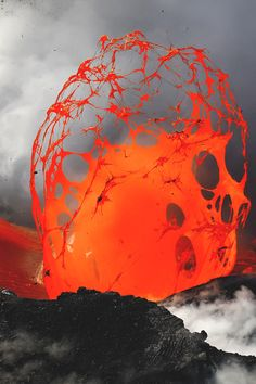 Trapped steam beneath a river of lava accumulates a tremendous amount of pressure until it escapes in an instantaneous explosion of a lava, causing a rare lava bubble. Hawaii