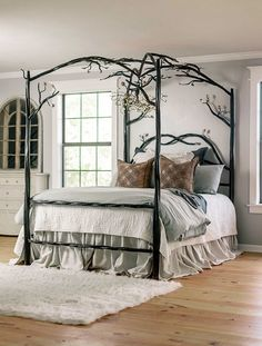 Elm Springs Wrought Iron Canopy Bed - Twisted and textured timbers, free-flowing branches, and hand forged leaves make this stunning work - Bed Frame, Home, Iron Canopy Bed, Bed, Furniture, Bed Springs, Iron Bed, Bedroom, Bedroom Furniture