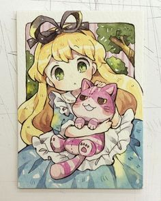 Alice and the Cheshire Cat ATC in an anime style Anime Chibi, Kawaii Anime, Kawaii Chibi, Cute Chibi, Kawaii Art, Manga Anime, Anime Art, Disney Kunst, Disney Art