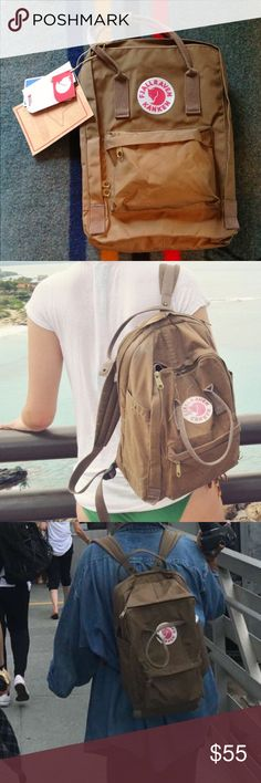 """Fjallraven Kånken 15in Laptop Backpack It's colored """"sand"""". The 3rd photo is the actual bag. Worn a few times, looks almost like new, the bags can really withstand the test of time. Fjallraven Bags Backpacks"""