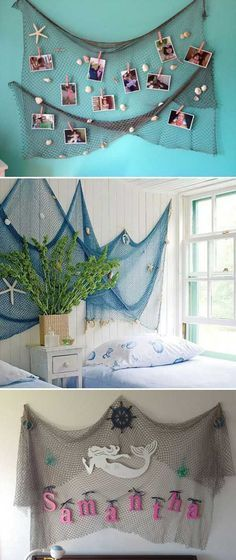 Bring the feel of the sea to the kid's room by hanging a fishing net decoration. #GirlsBedroom