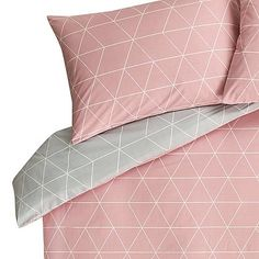 Featuring a pink and grey reversible design, this geometric print duvet set is stylish way to freshen up your bed space. Made from easy-care cotton for a sof. Pink And Grey Bedding, Grey Duvet, Pink Bedding, Pink Grey, Luxury Bedding, Duvet Bedding, Blush Pink, Pink Bedroom Design, Pink Bedroom Decor